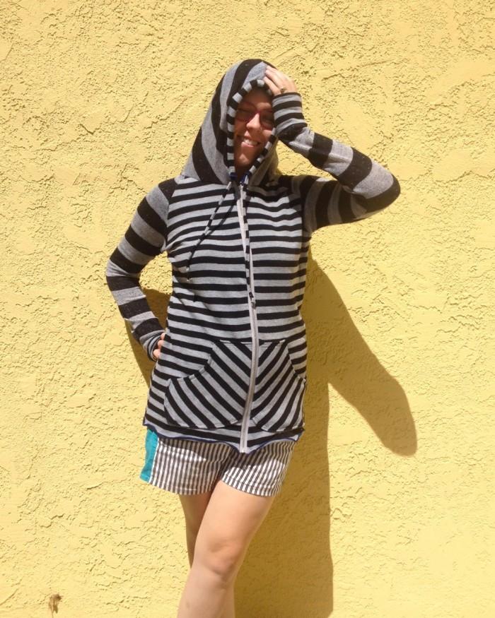striped hoodie, made by Julianne