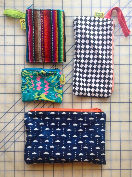 zipper bags, made by Julianne