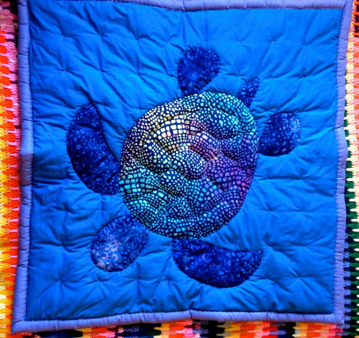 baby sea turtle quilt, made by Julianne