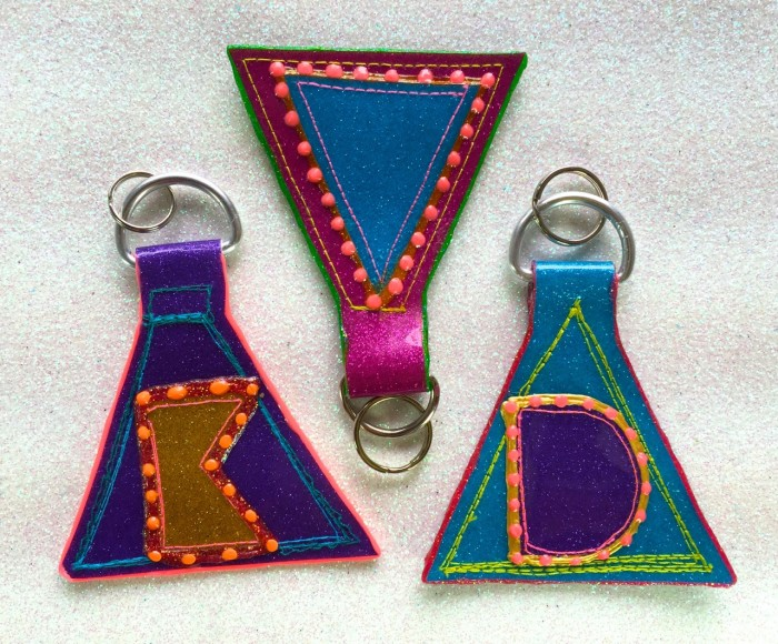 glitter vinyl keychains, made by Julianne