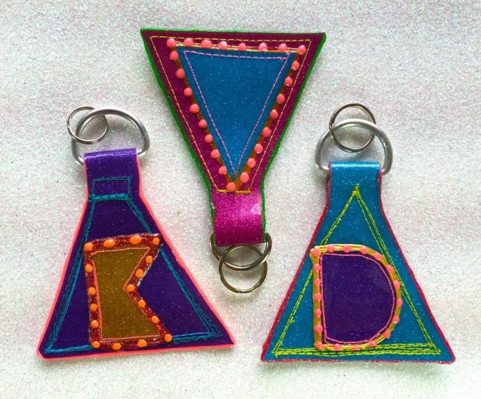glitter vinyl keychains, made by Julianne
