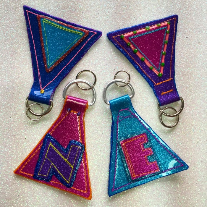 glitter keychains, made by Julianne