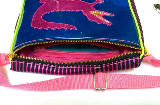 baby pink alligator fanny pack, made by Julianne